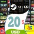Steam Gift Card 20 USD Steam Key NORTH AMERICA